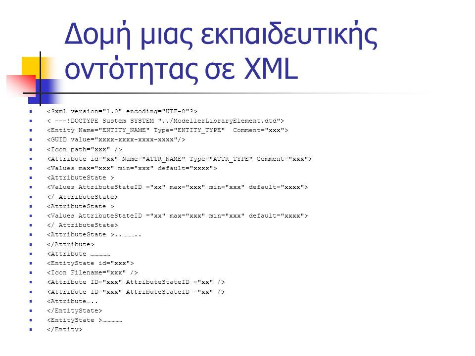 Δομή μιας εκπαιδευτικής οντότητας σε XML