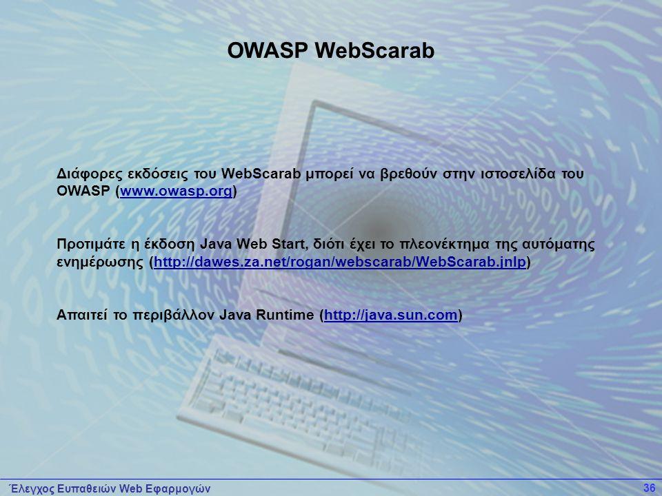 OWASP WebScarab Διάφορες εκδόσεις του WebScarab μπορεί να βρεθούν στην ιστοσελίδα του OWASP (www.owasp.org)