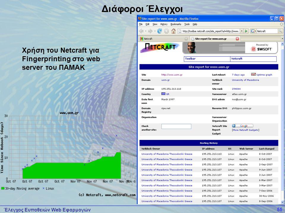 Διάφοροι Έλεγχοι Χρήση του Netcraft για Fingerprinting στο web server του ΠΑΜΑΚ.