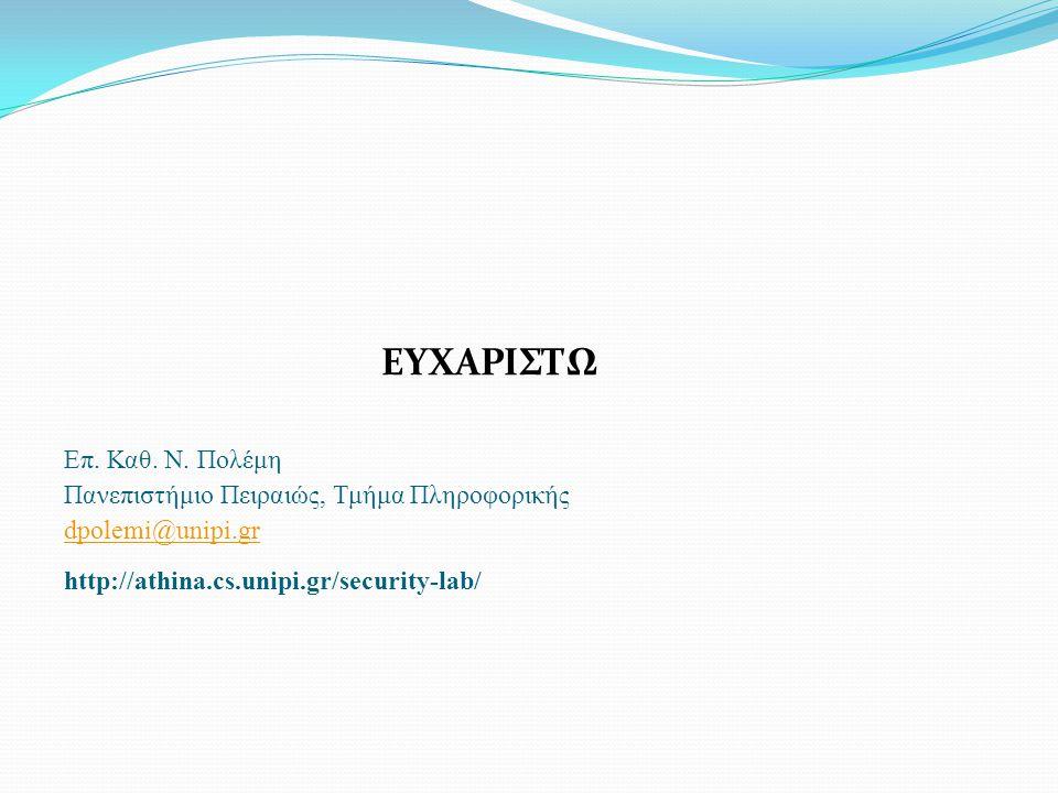 ΕΥΧΑΡΙΣΤΩ Επ. Καθ. Ν. Πολέμη Πανεπιστήμιο Πειραιώς, Τμήμα Πληροφορικής