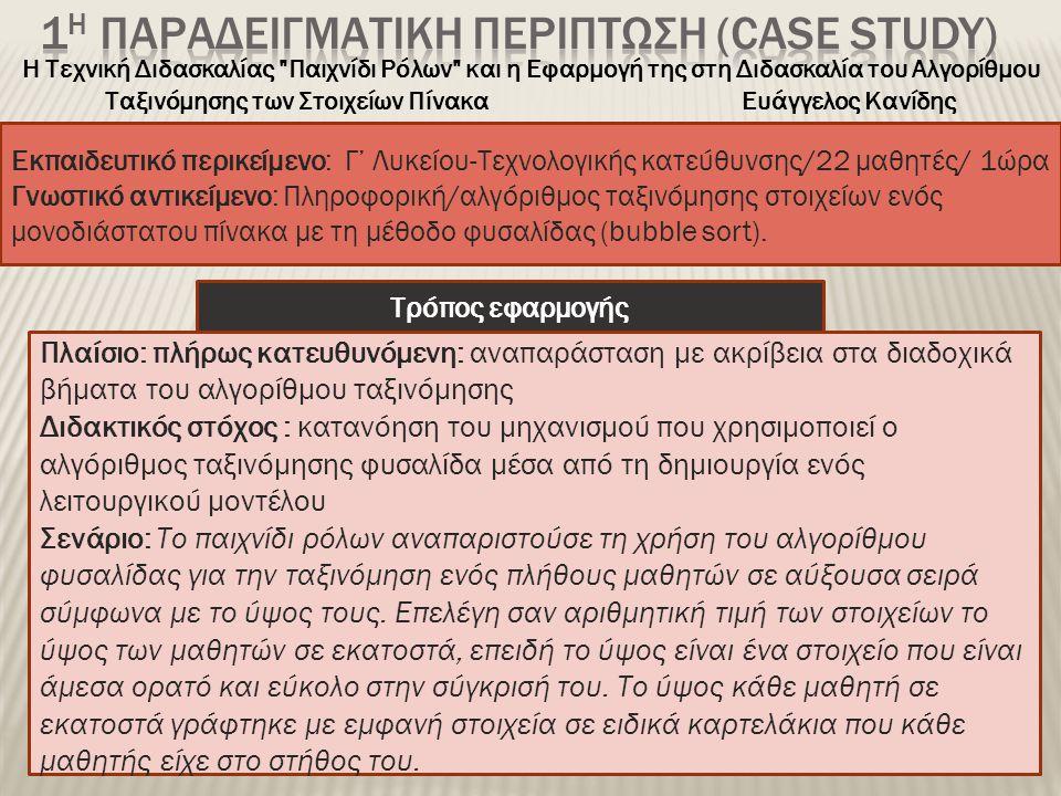 1η ΠΑΡΑΔΕΙΓΜΑΤΙΚΗ ΠΕΡΙΠΤΩΣΗ (CASE STUDY)
