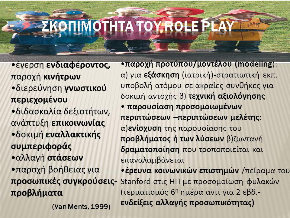 σκοπιμοτητα του role play