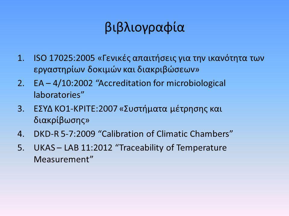 βιβλιογραφία ISO 17025:2005 «Γενικές απαιτήσεις για την ικανότητα των εργαστηρίων δοκιμών και διακριβώσεων»