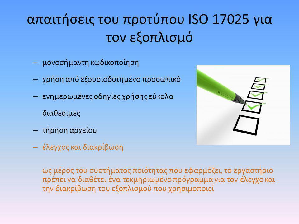 απαιτήσεις του προτύπου ISO 17025 για τον εξοπλισμό