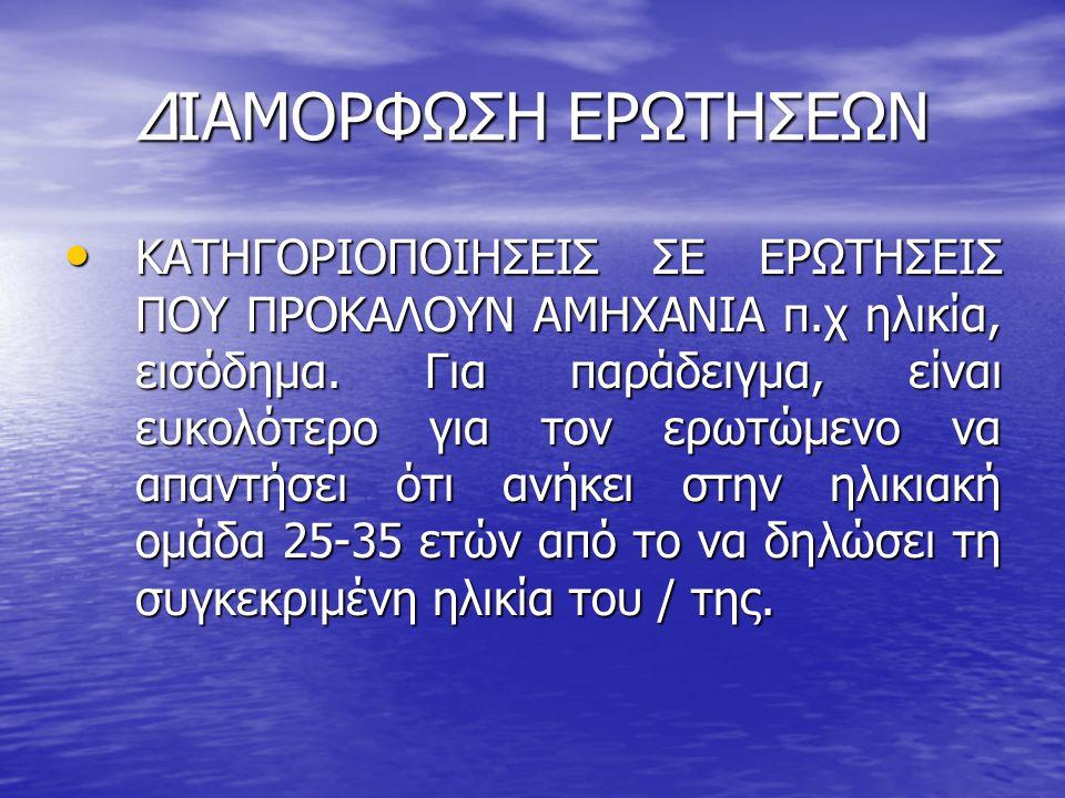 ΔΙΑΜΟΡΦΩΣΗ ΕΡΩΤΗΣΕΩΝ