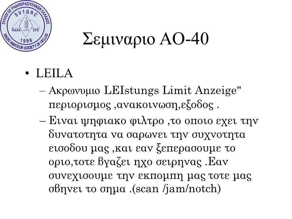 Σεμιναριο ΑΟ-40 LEILA. Ακρωνυμιο LEIstungs Limit Anzeige περιορισμος ,ανακοινωση,εξοδος .