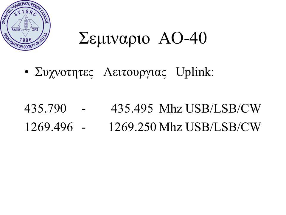 Σεμιναριο ΑΟ-40 Συχνοτητες Λειτουργιας Uplink: