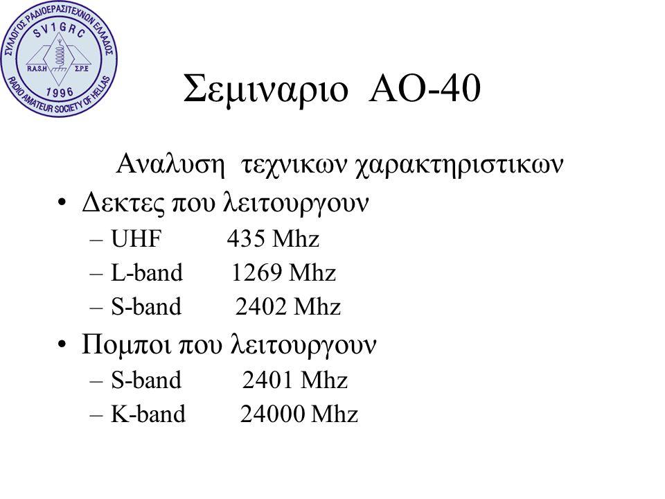 Σεμιναριο ΑΟ-40 Αναλυση τεχνικων χαρακτηριστικων