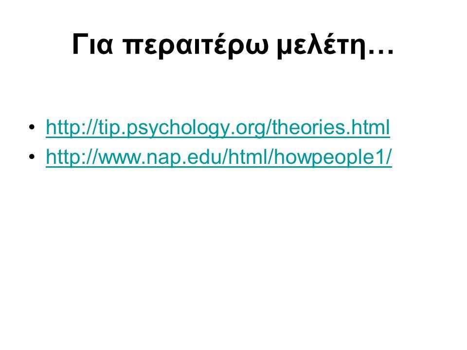 Για περαιτέρω μελέτη… http://tip.psychology.org/theories.html