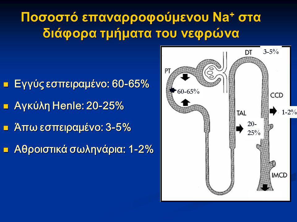 Ποσοστό επαναρροφούμενου Na+ στα διάφορα τμήματα του νεφρώνα