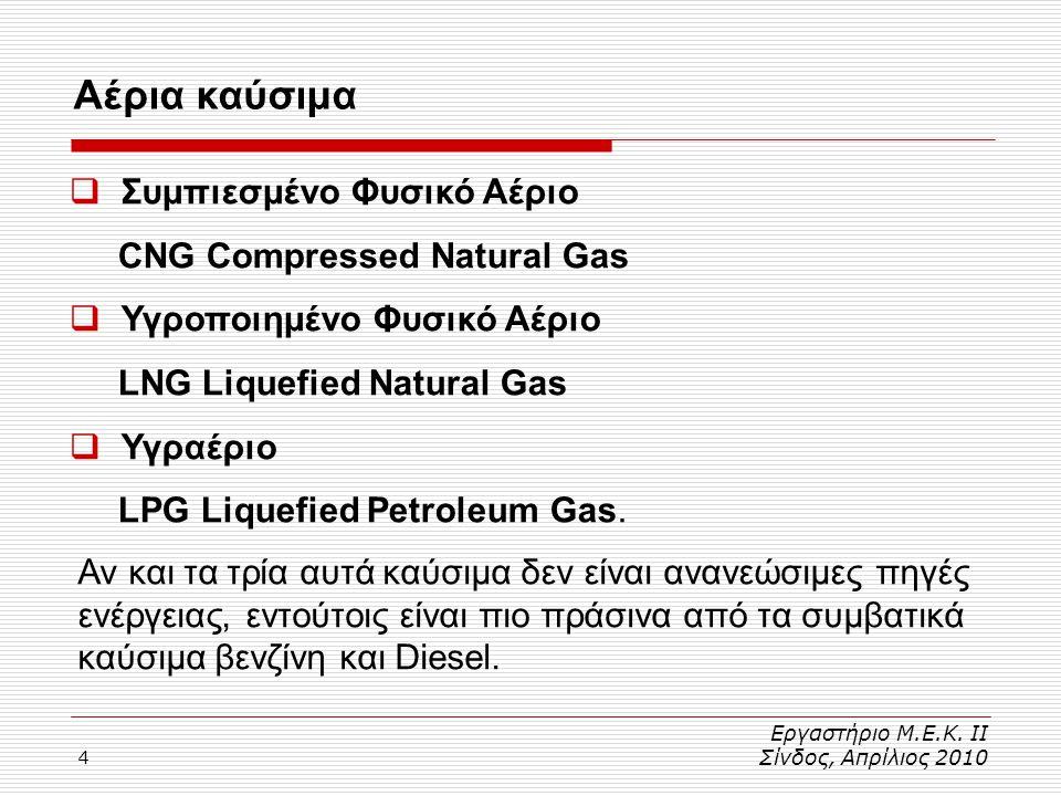 Αέρια καύσιμα Συμπιεσμένο Φυσικό Αέριο CNG Compressed Natural Gas