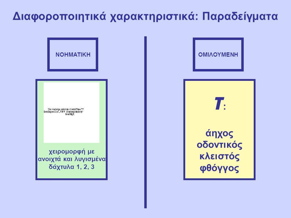 Διαφοροποιητικά χαρακτηριστικά: Παραδείγματα