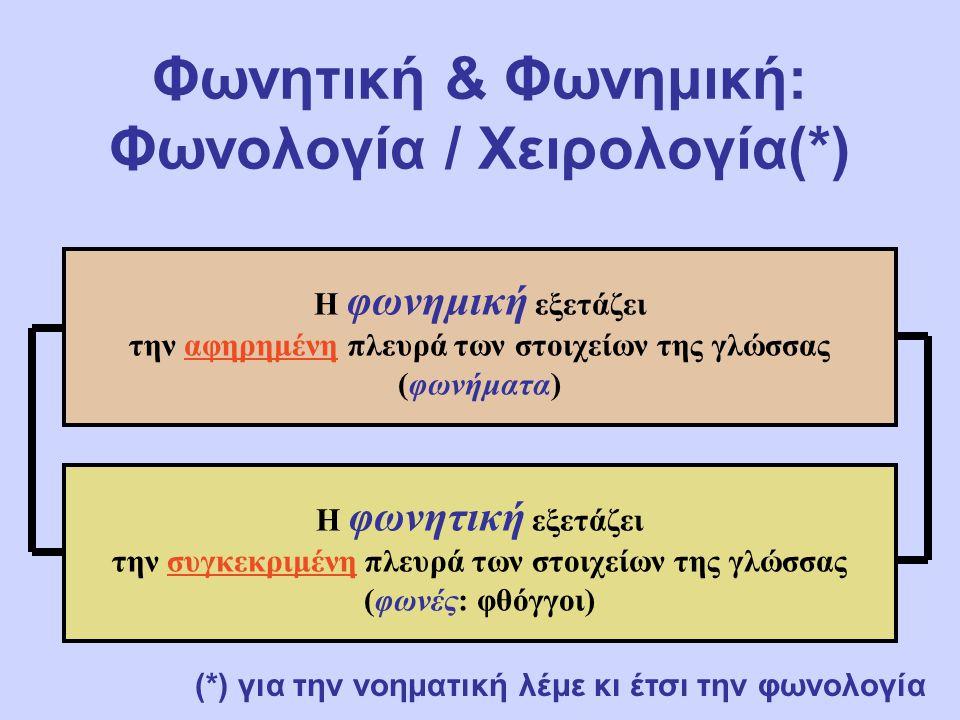 Φωνητική & Φωνημική: Φωνολογία / Χειρολογία(*)