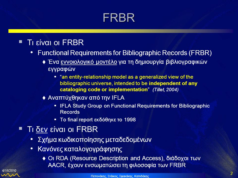 FRBR Τι είναι οι FRBR Τι δεν είναι οι FRBR