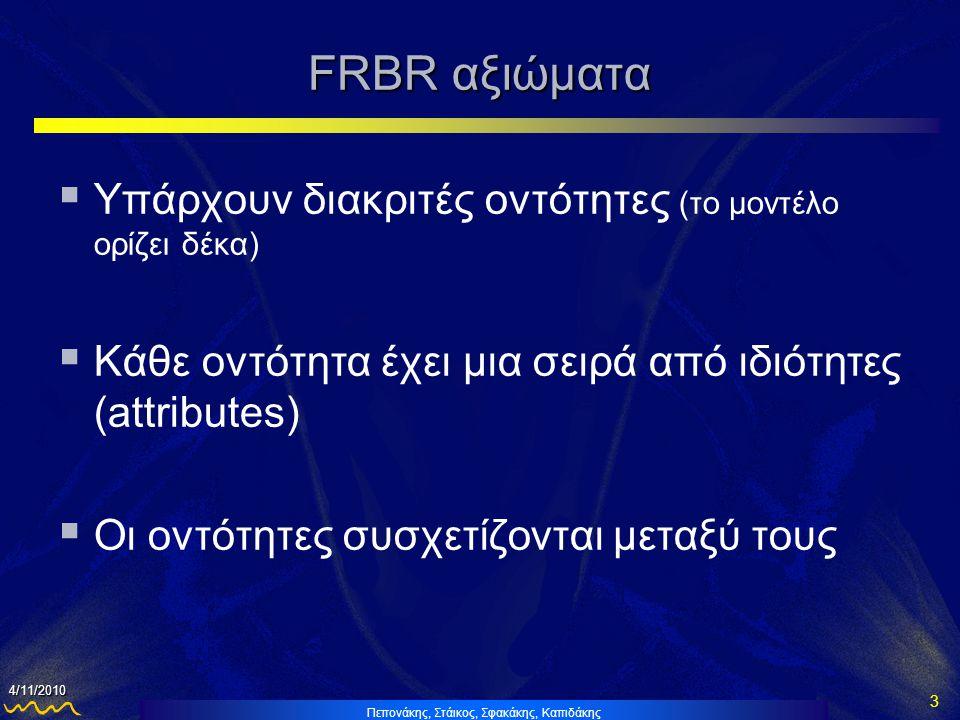 FRBR αξιώματα Υπάρχουν διακριτές οντότητες (το μοντέλο ορίζει δέκα)