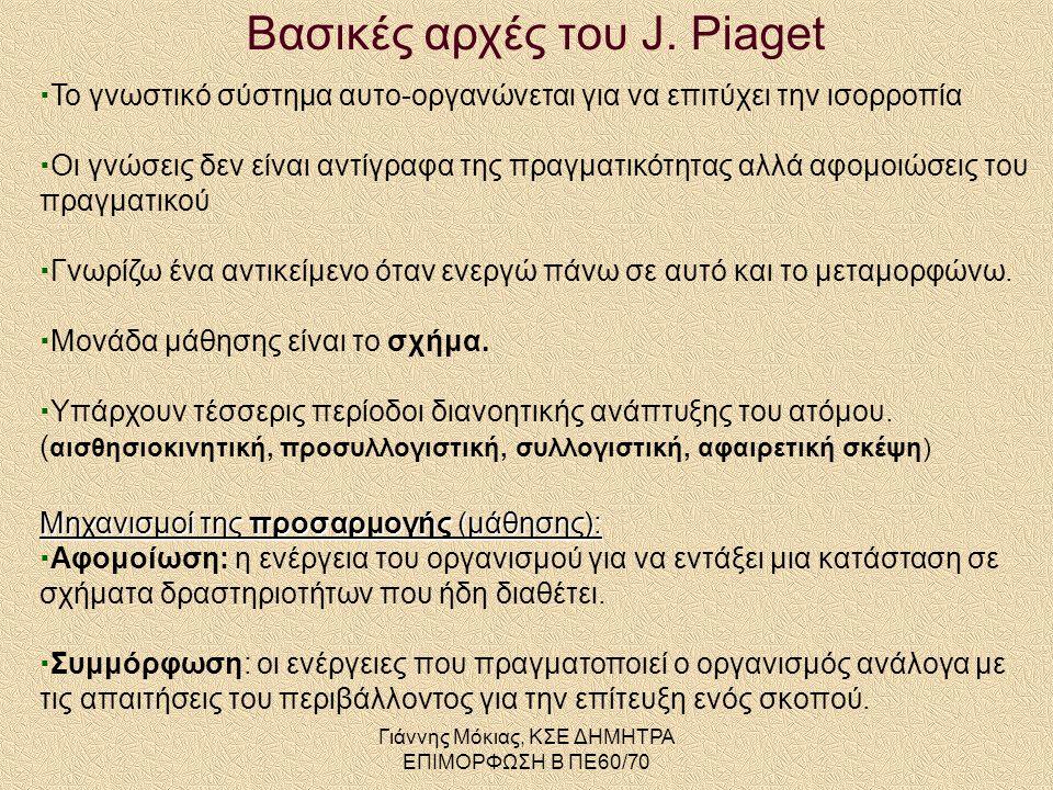 Βασικές αρχές του J. Piaget