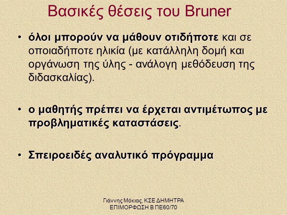 Βασικές θέσεις του Bruner