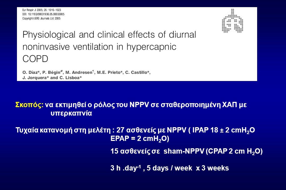 Σκοπός: να εκτιμηθεί ο ρόλος του NPPV σε σταθεροποιημένη ΧΑΠ με υπερκαπνία Τυχαία κατανομή στη μελέτη : 27 ασθενείς με NPPV ( IPAP 18 ± 2 cmH2O EPAP = 2 cmH2O)