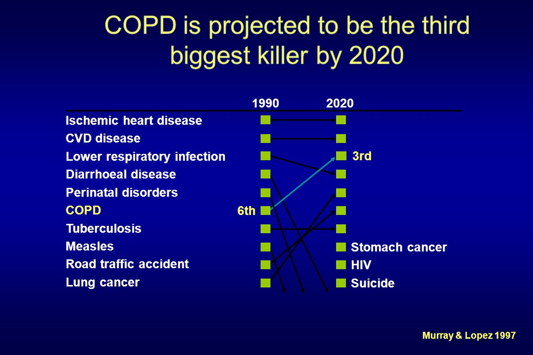 COPD is projected to be the third biggest killer by 2020