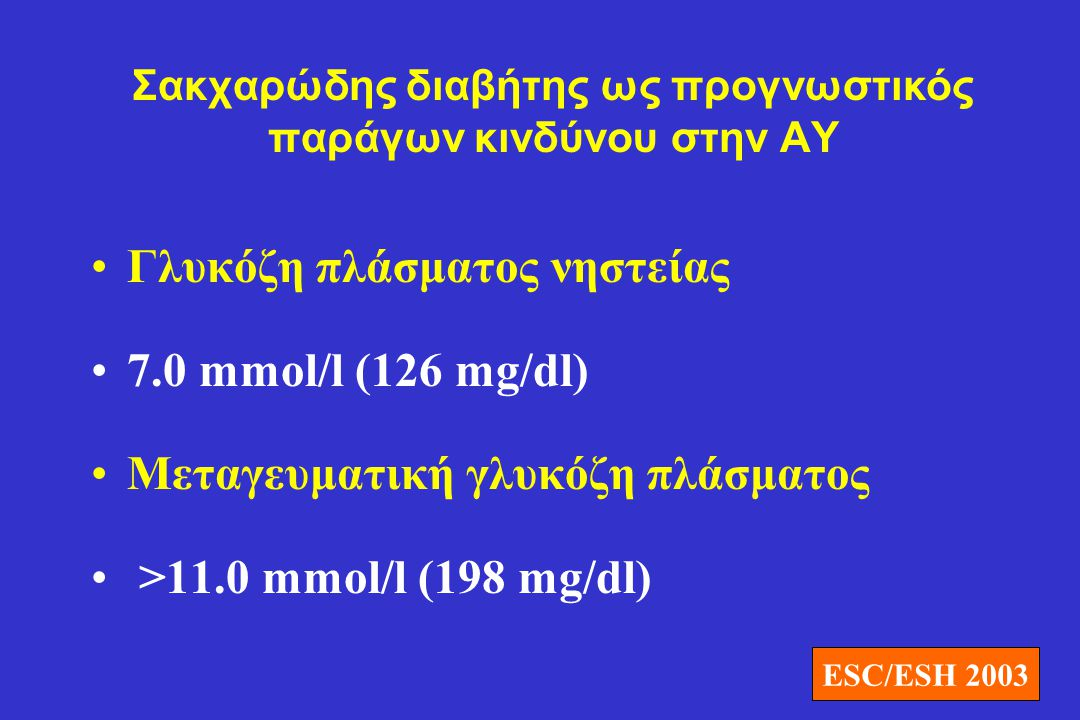 Σακχαρώδης διαβήτης ως προγνωστικός παράγων κινδύνου στην ΑΥ