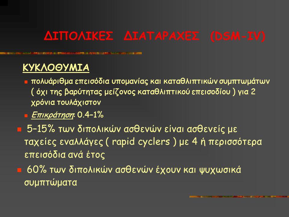 ΔΙΠΟΛΙΚΕΣ ΔΙΑΤΑΡΑΧΕΣ (DSM-IV)