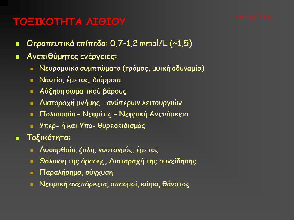 ΤΟΞΙΚΟΤΗΤΑ ΛΙΘΙΟΥ Θεραπευτικά επίπεδα: 0,7-1,2 mmol/L (~1,5)