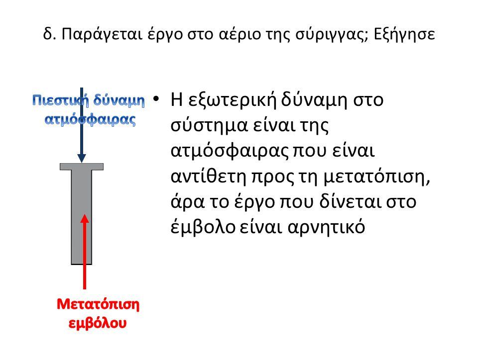 δ. Παράγεται έργο στο αέριο της σύριγγας; Εξήγησε