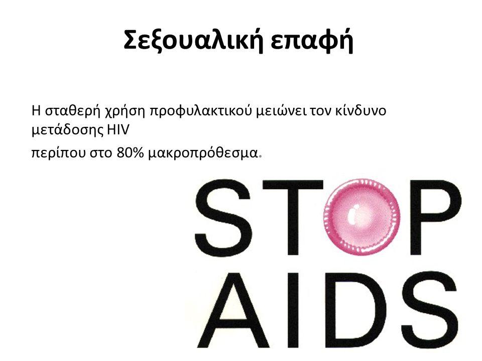 Σεξουαλική επαφή Η σταθερή χρήση προφυλακτικού μειώνει τον κίνδυνο μετάδοσης HIV.