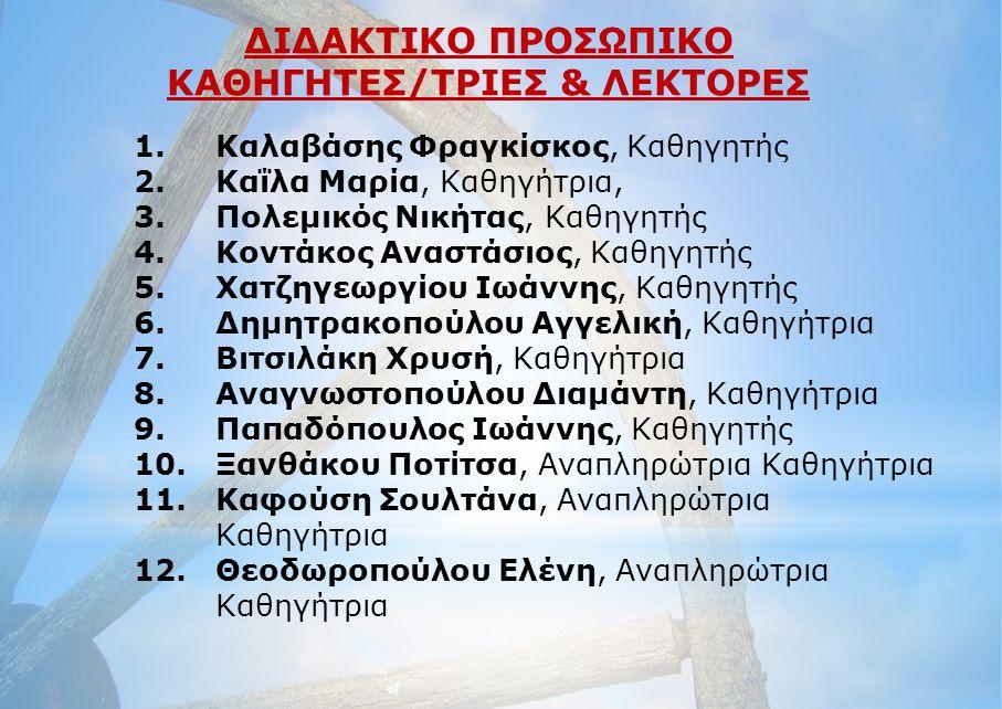 ΚΑΘΗΓΗΤΕΣ/ΤΡΙΕΣ & ΛΕΚΤΟΡΕΣ