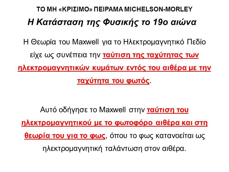 ΤΟ ΜΗ «ΚΡΙΣΙΜΟ» ΠΕΙΡΑΜΑ MICHELSON-MORLEY
