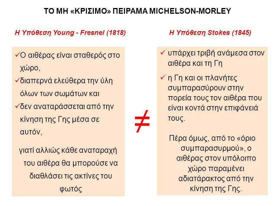 ≠ ΤΟ ΜΗ «ΚΡΙΣΙΜΟ» ΠΕΙΡΑΜΑ MICHELSON-MORLEY