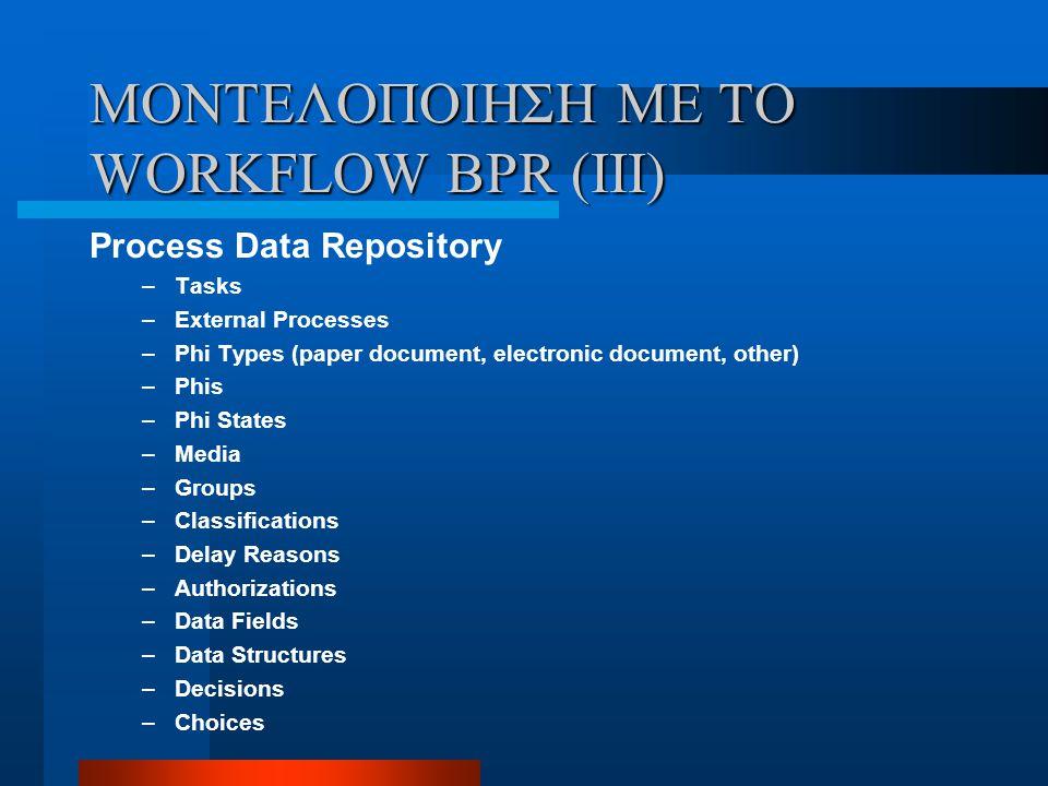 ΜΟΝΤΕΛΟΠΟΙΗΣΗ ΜΕ ΤΟ WORKFLOW BPR (IIΙ)