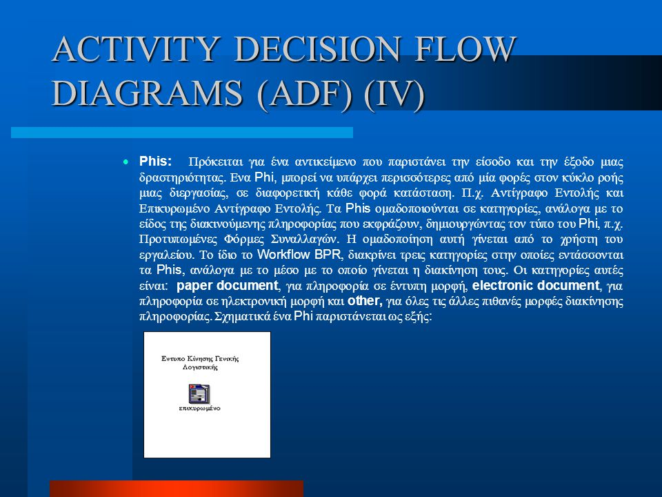 ACTIVITY DECISION FLOW DIAGRAMS (ADF) (IV)