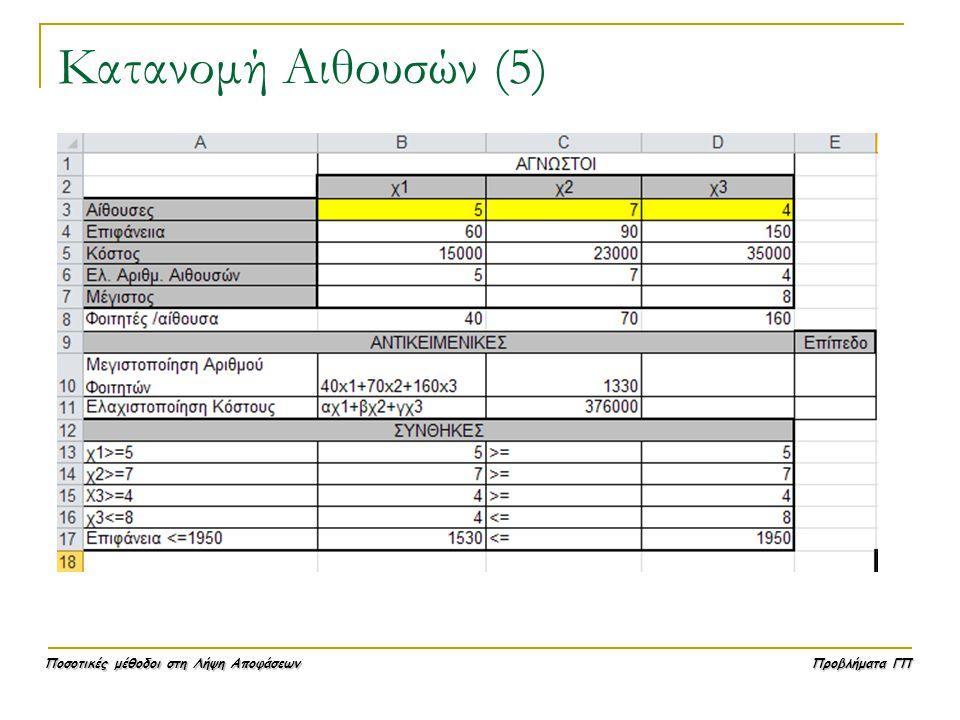 Κατανομή Αιθουσών (5)
