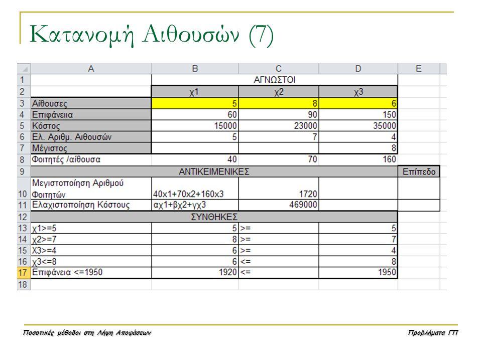 Κατανομή Αιθουσών (7)