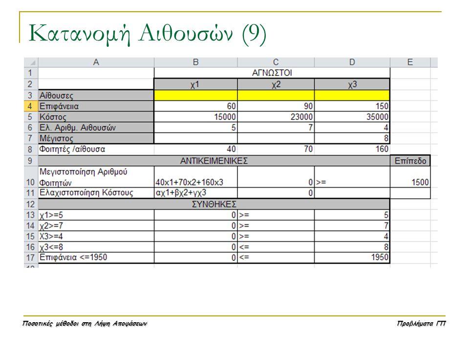 Κατανομή Αιθουσών (9)