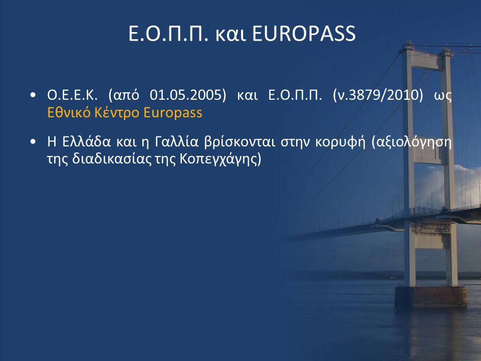 Ε.Ο.Π.Π. και EUROPASS O.E.E.K. (από 01.05.2005) και Ε.Ο.Π.Π. (ν.3879/2010) ως Εθνικό Κέντρο Europass.