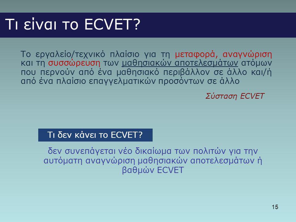 Τι είναι το ECVET