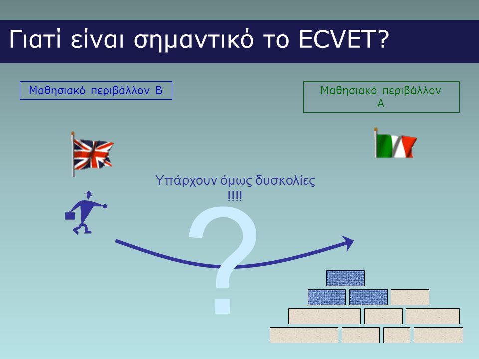 Γιατί είναι σημαντικό το ECVET Υπάρχουν όμως δυσκολίες !!!!