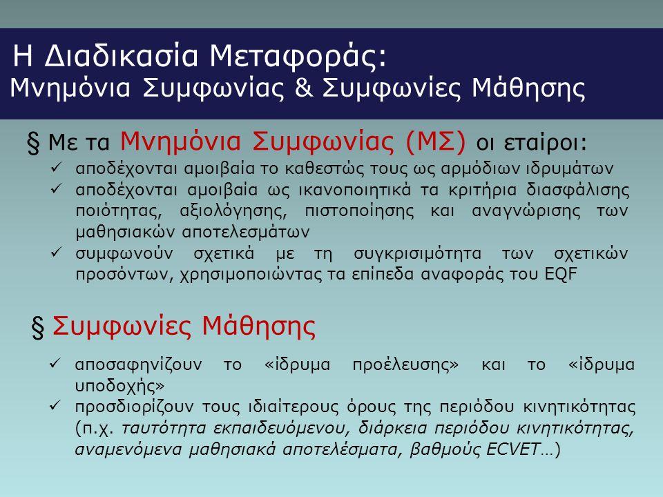 § Με τα Μνημόνια Συμφωνίας (ΜΣ) οι εταίροι:
