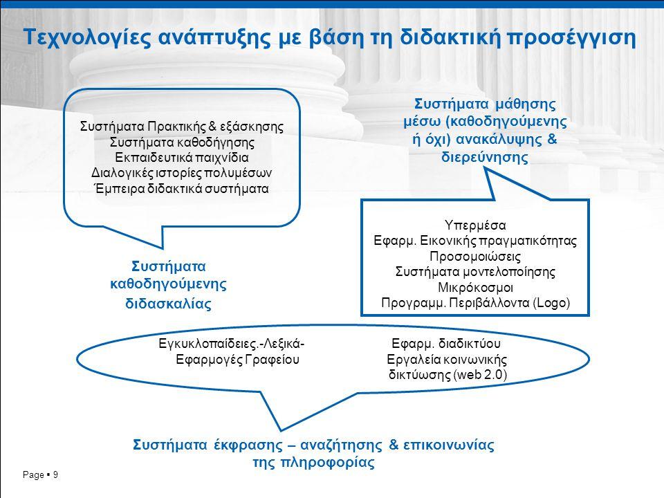 Τεχνολογίες ανάπτυξης με βάση τη διδακτική προσέγγιση