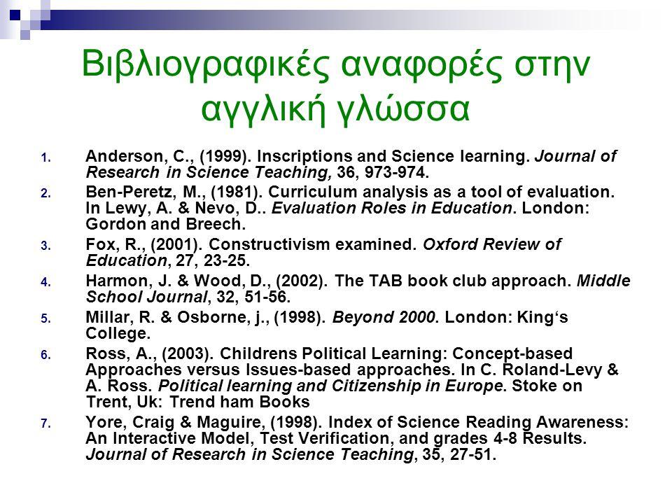 Βιβλιογραφικές αναφορές στην αγγλική γλώσσα