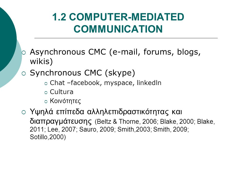 1.2 COMPUTER-MEDIATED COMMUNICATION