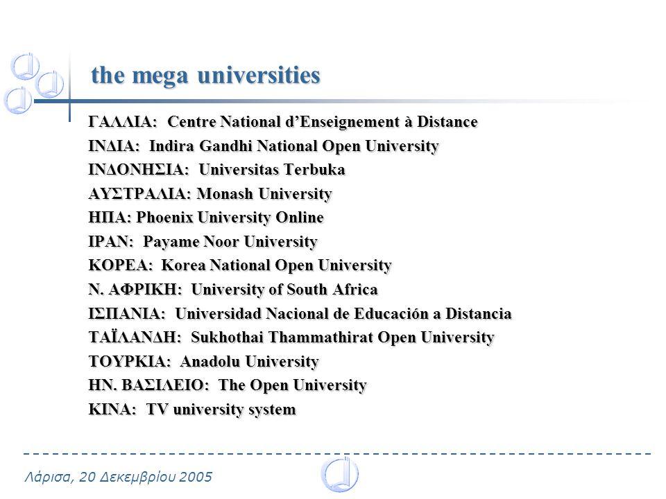 the mega universities ΓΑΛΛΙΑ: Centre National d'Enseignement à Distance. ΙΝΔΙΑ: Indira Gandhi National Open University.