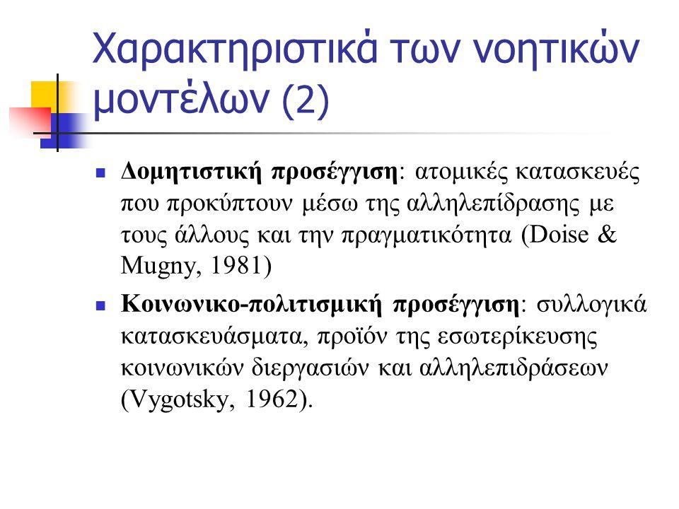 Χαρακτηριστικά των νοητικών μοντέλων (2)