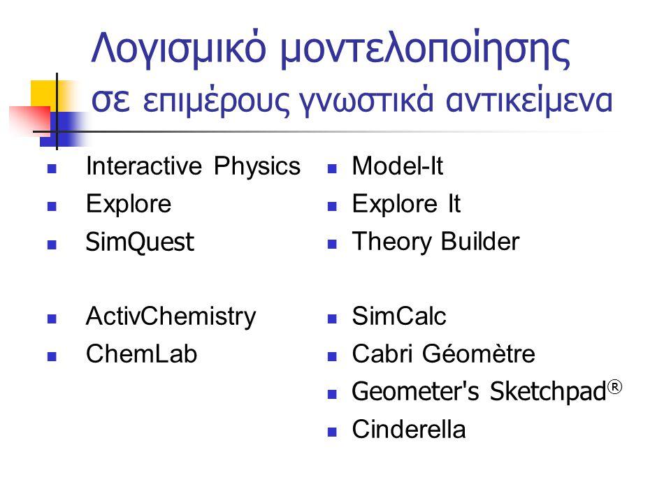 Λογισμικό μοντελοποίησης σε επιμέρους γνωστικά αντικείμενα
