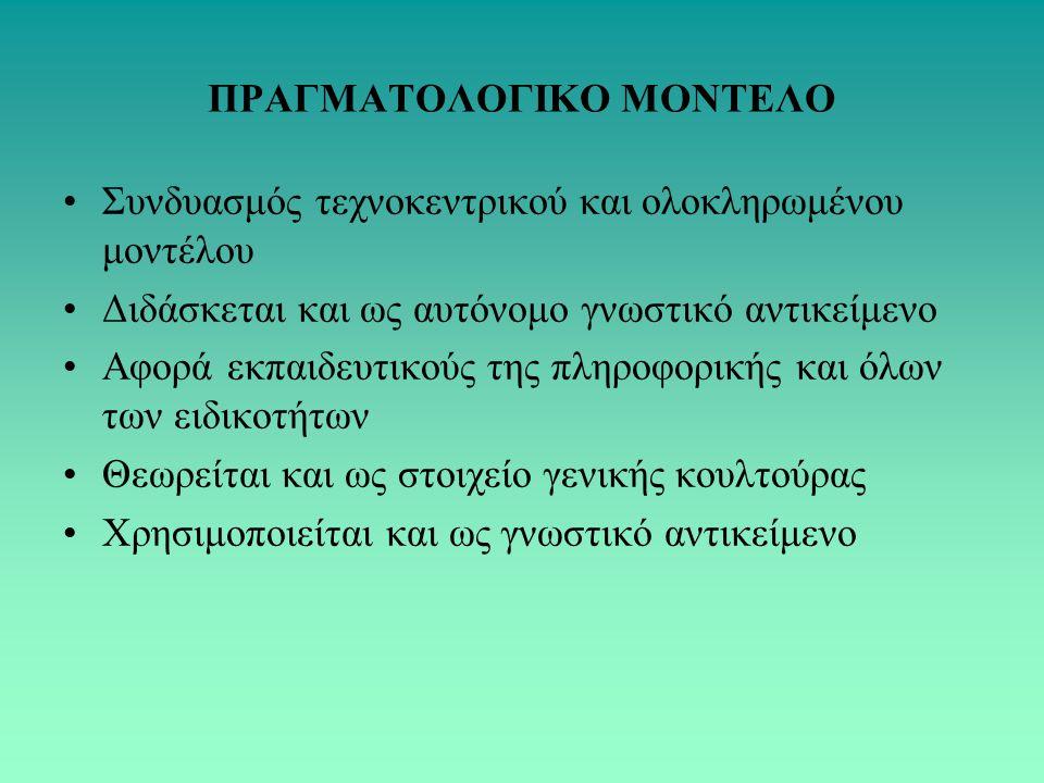 ΠΡΑΓΜΑΤΟΛΟΓΙΚΟ ΜΟΝΤΕΛΟ