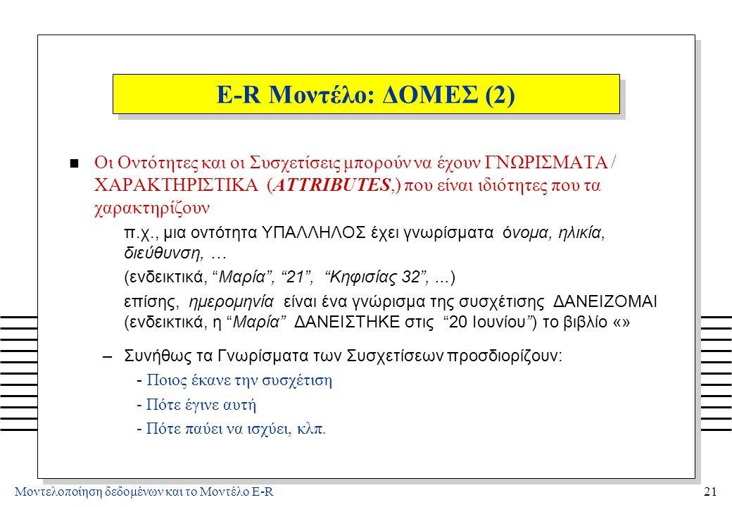 4/3/2017 E-R Μοντέλο: ΔΟΜΕΣ (3) Τα ΠΕΔΙΑ ΤΙΜΩΝ (DOMAINS) είναι σύνολα τιμών για τα γνωρίσματα. π.χ., DOMAIN OF NAMES = το σύνολο των ονομάτων.