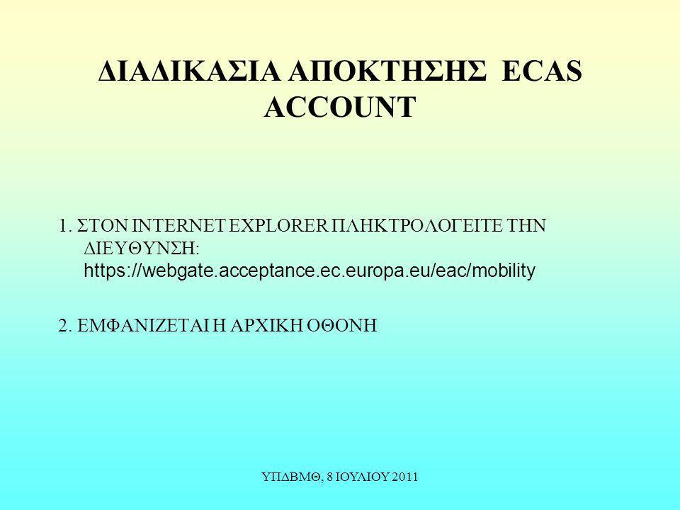 ΔΙΑΔΙΚΑΣΙΑ ΑΠΟΚΤΗΣΗΣ ECAS ACCOUNT