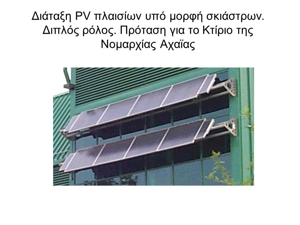 Διάταξη PV πλαισίων υπό μορφή σκιάστρων. Διπλός ρόλος